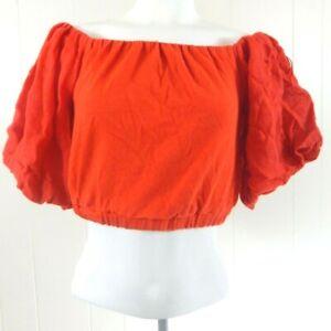 65182da29d3 Zara Basic Women's Small Top Red Off the Shoulder Crop Blouse Bishop ...