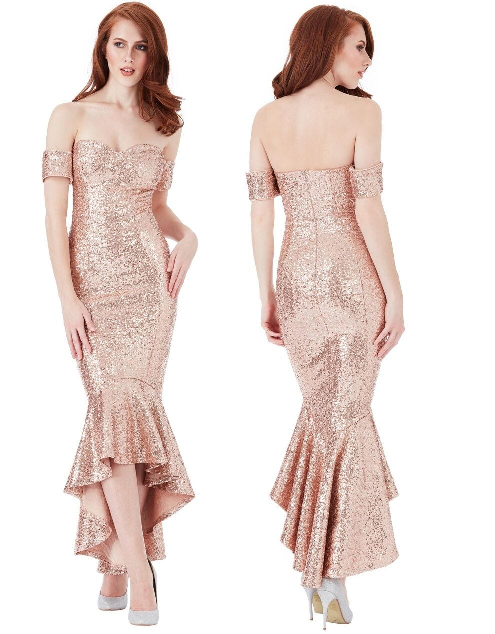 Goddiva Champagne Sequin Bardot Peplum Fshtail Prom Formal Evening Party Dress