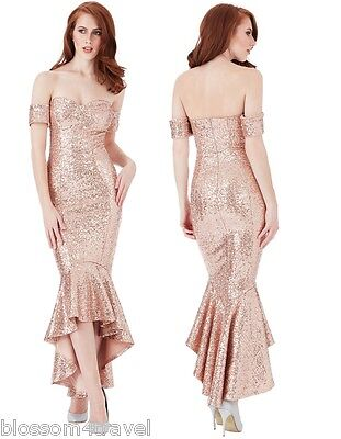 Goddiva Champagne Sequin Bardot Peplum Fshtail Prom Formal Evening Party Dress