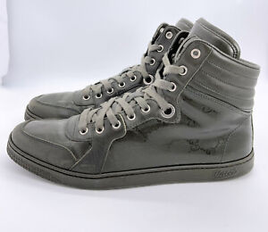 Gucci-Authentic-GG-Glossy-Imprime-Military-Green-High-Top-Sneakers-8-US-9-W-Box