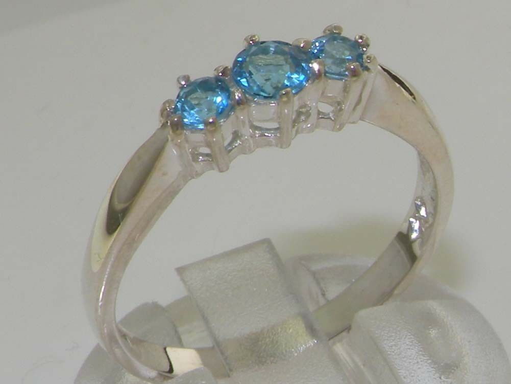 Solid 9ct White gold Natural bluee Topaz Womens Trilogy Ring - Sizes J to Z