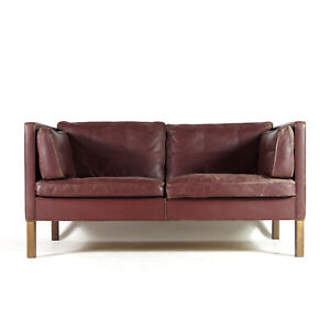Retro-Vintage-Danish-Leather-2-Love-Seat-Seater-Sofa-Teak-Scandinavian-60s-70s
