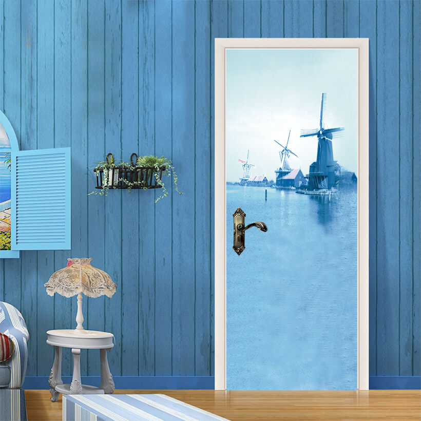 3D Blau Windmühlen Tür Mauer Wandgemälde Foto Wandaufkleber AJ WALL DE Lemon