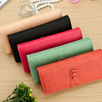 Women Leather Card Holder Case Wallet Long Clutch Button Ladies Checkbook Purse