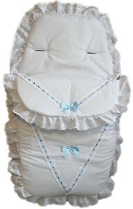New White /&baby blue embroidery anglaise footmuff// iner for pram and pushchair