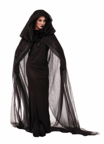 Haunted Black Cape /& Dress Hood Costume Halloween Accessory Adult Women Ghost