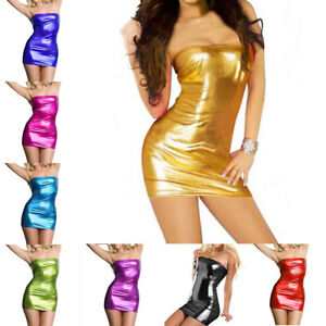6ab1aea0831b Tube Dress Metallic Foil Wet Look PVC Mini Clubwear Party Bodycon ...