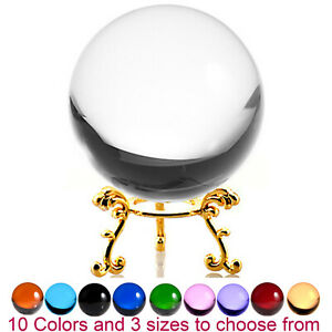 Crystal Ball Sphere for Feng Shui, Meditation, Decor, with Golden Flower Stand