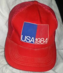 Vintage-USA-1984-Trucker-Hat-One-Size-Fits-All-Red-Snapback-Mesh-Trucker-Cap-A4