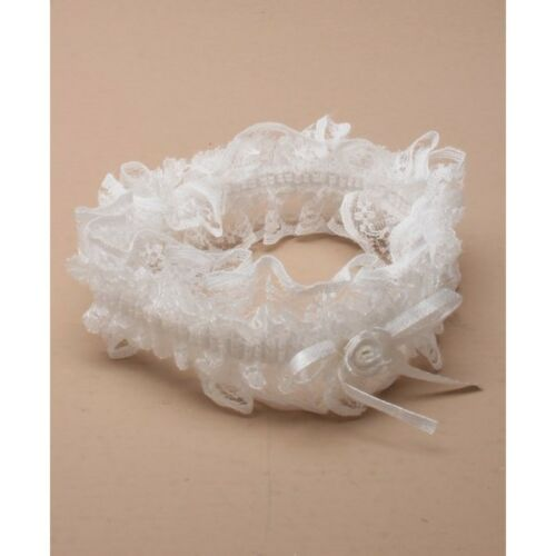 NEW White lace with white ribbon bow wedding bride garter
