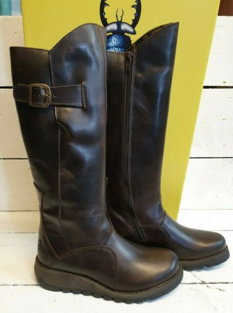 Ladies Fly London Mol 2 Dark Brown Leather Knee High Boots