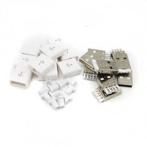 10PCS-KIT-CONNETTORE-MASCHIO-USB-5P-USB-2-0-PLUG-tipo-una-FAI-DA-TE-COMPONENTI-BIANCO