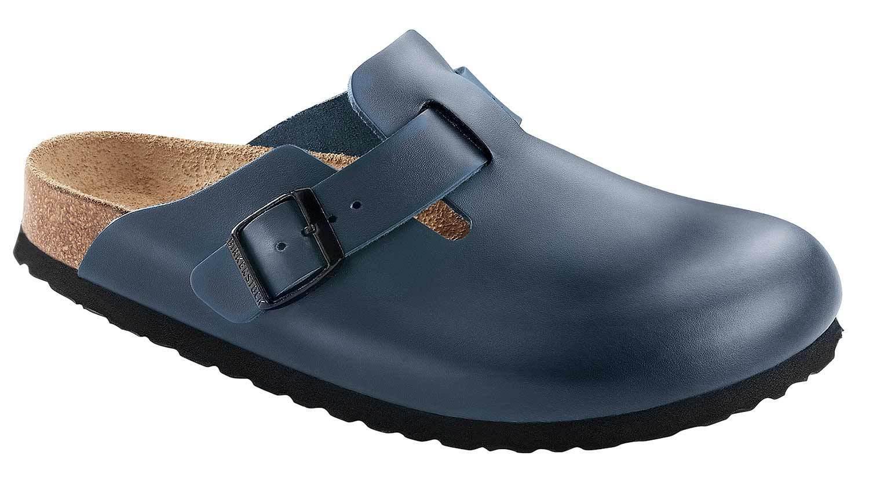 Birkenstock Boston Hausschuhe Pantolette Clogs Sandalen Leder 760871 Blau Normal