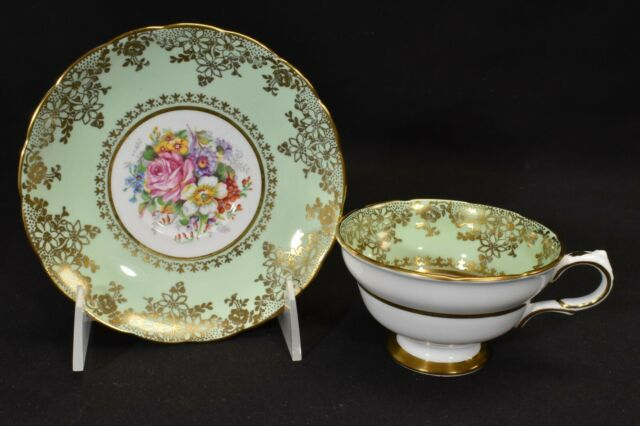 Grosvenor B29 Cup & Saucer Multi Color Floral Green Band