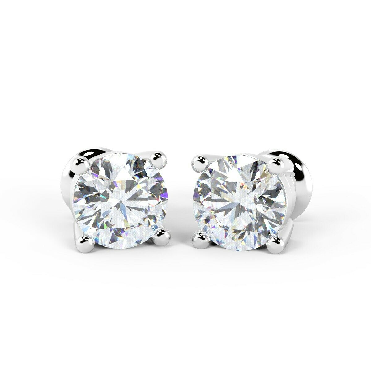 1.25 Carat 4 Claw Diamond Stud Earrings, 18k White gold UK Hallmarked