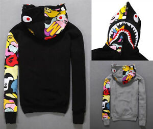 JAPAN Bape A Bathing Ape Men's Shark Head Jacket Sweats HOODIE BAPE Sweater Coat