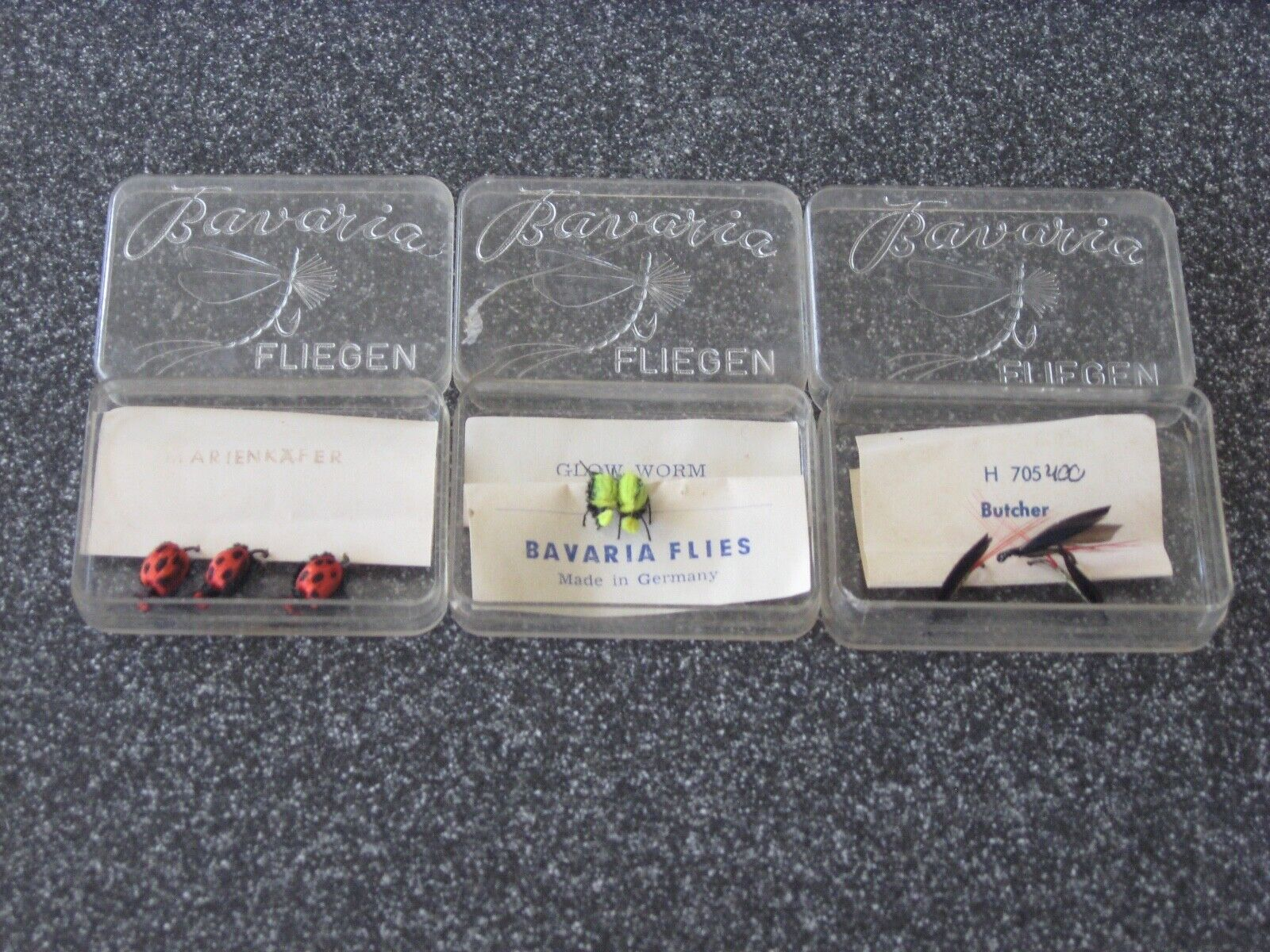 3 ULTRA RARE BAVARIA FLIES SETS MADE IN GERMANY 3 RED ANT 2 GLOW WORM 3 BUTCHER
