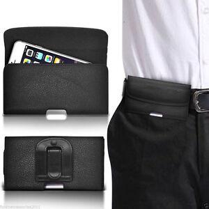 Horizontal-Belt-Clip-Quality-Pouch-Holster-Top-Flip-Case-Holder-Black