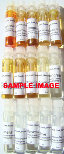 15pcs Essential Oil Sampler (Melissa, Geranium, Rosewood, +more)(1ml each)