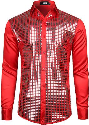JOGAL Men/'s Metallic Silver Disco Long Sleeve Button Down Shirts