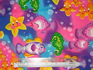 Rainbow-bubble-fish-Sea-cotton-quilting-fabric-Choose-design-amp-size