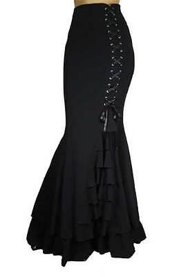 New Black Fishtail Corset Mermaid Gothic Ruffle Romantic Extra Long Skirt N54