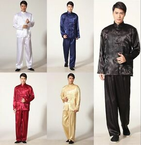 Black Handsome Chinese style men s silk kung fu suit SZ  S M L XL ... 9c5d8ae0f