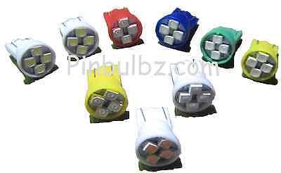 "Pinball LED bulbs 25pc GREEN #44//47 /""Super Bright Quad/"" 4LED 6.3v bayonet 4smd"