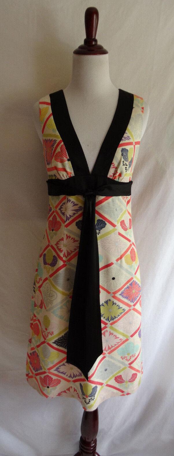 Trina Turk 2 Linen Silk Blend Asian Inspirot Retro Flower Daisy Summer Dress