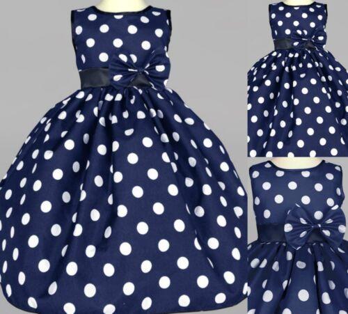 Flower Girl Bridesmaids Summer Easter Toddler Girl Pin Up Polka Dot Dress#13