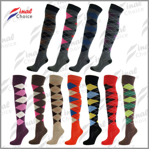 Womens Ladies Over The Knee Thigh High Diamond Argyle Pattern One Size Socks ■