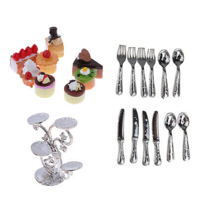1//12 Dollhouse Miniature Fruit Stand with Fruit Cakes /& Silver Tableware