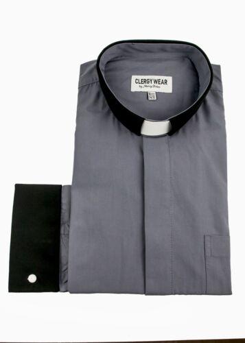 Grey//Black Mens Clergy Shirt Two Tone Long Sleeve French Cuff Tab Collar
