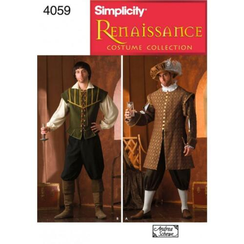 SIMPLICITY SEWING PATTERN Men's Renaissance Costumes SIZES XS XL 4059