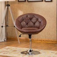 Brown Round Tufted Back Swivel Accent Chair Home Living Room Seating Furniture