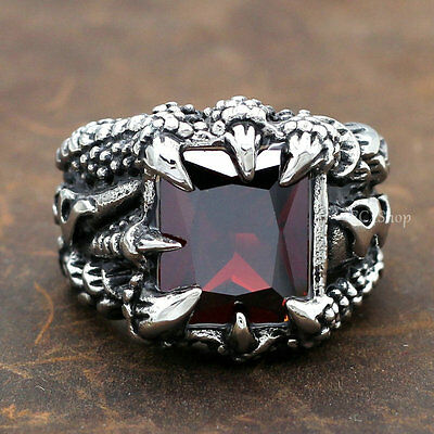Men Best Quality Vintage Dragon Claw Lightning Ruby CZ 316L Stainless Steel Ring