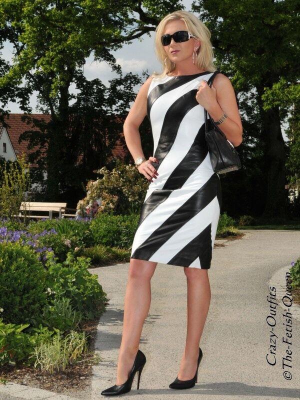 Lederkleid Leder Kleid Schwarz   Weiß Gestreift Größe 32 - 58 XS - XXXL