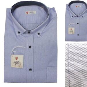 Camicia-Uomo-Manica-corta-Cotone-Casual-Elegante-azzurra-3XL-4XL-slim-fit-classi