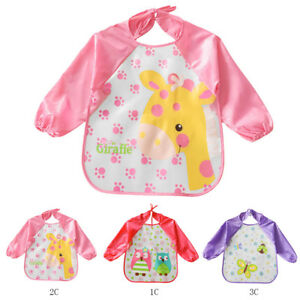 Baby Girls Waterproof  Apron Bibs Cartoon Animal Kids Eat Play Painting Apron