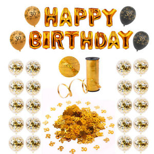 Happy 30th Birthday Party Supply Gold Confetti Balloons Set Hanging