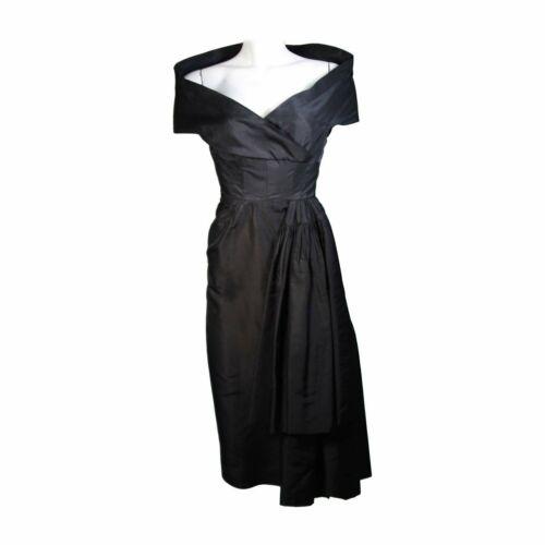 CEIL CHAPMAN  Black Cocktail Dress with Draped De… - image 1