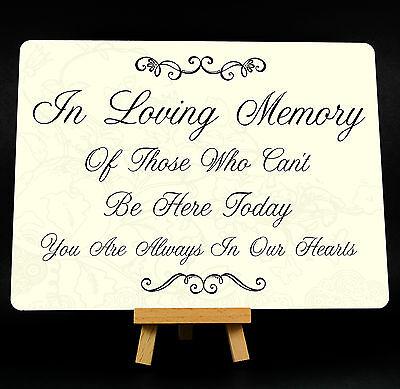 In Loving Memory Wedding Memorial Metal Plaque Sign