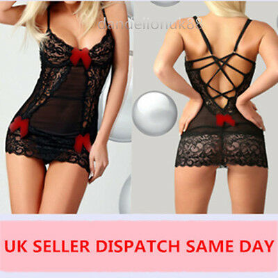 Sexy lace lingerie red ribbon babydoll nightwear + G-string plus size UK seller