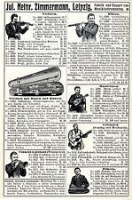 Jul. Heinrich Zimmermann Leipzig Musikinstrumente Zithern Histor. Annonce 1909