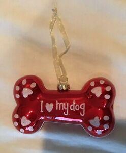 New Glass I Love My Dog Red Bone Christmas Ornament Ebay
