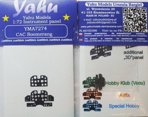 couleur tableau de bord pour airfix #7274 1//72 yahu 3D Cac boomerang rechange