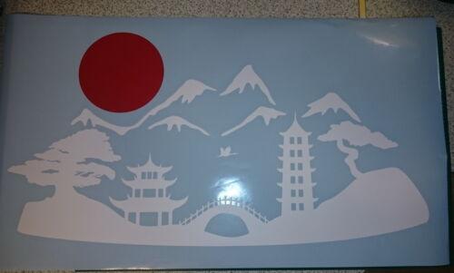 Japan Landscape Pagoda Sakura Sun Temple 2 colors Decor Vinyl Wall Sticker Decal