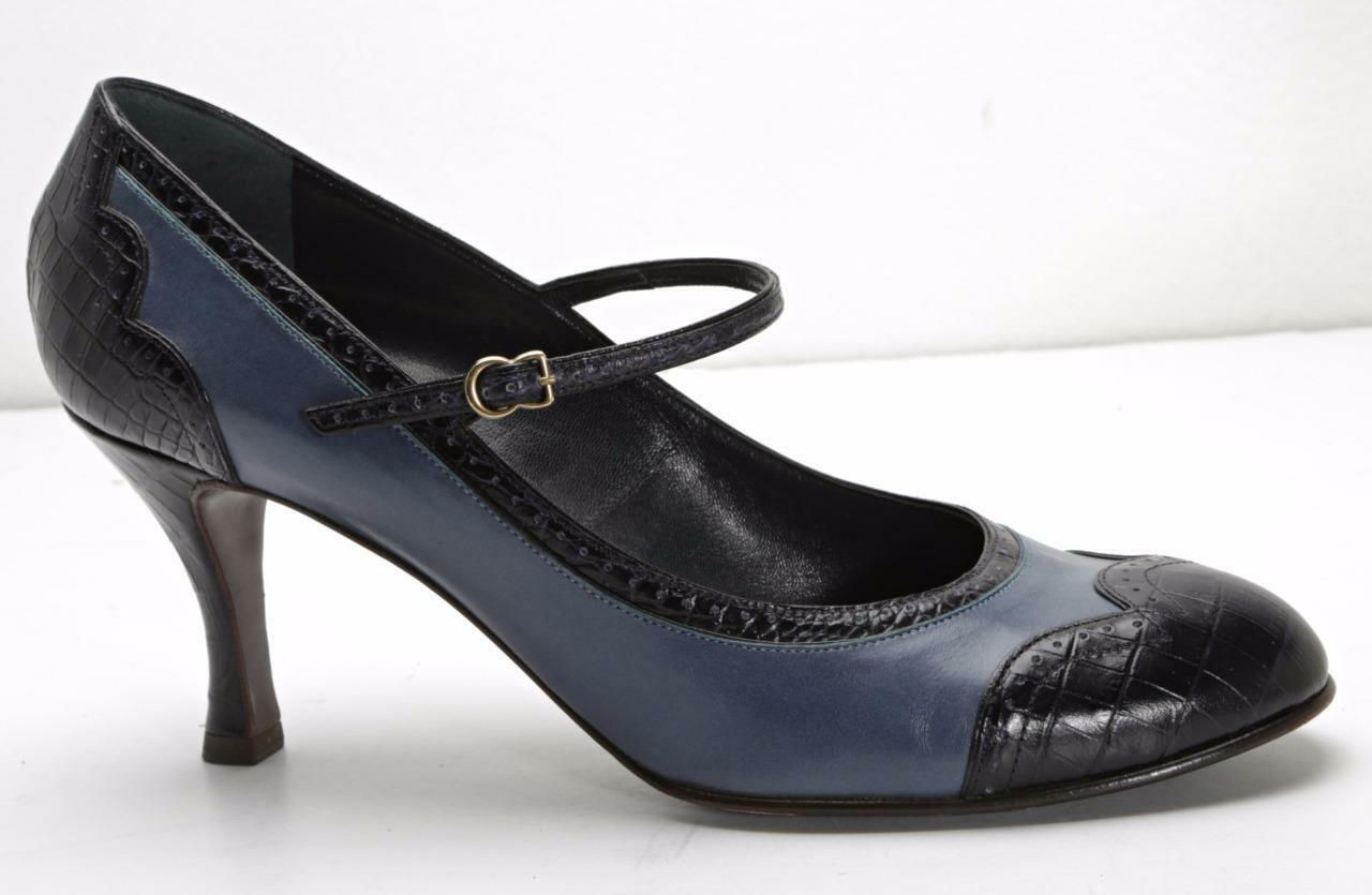 buona qualità MARC JACOBS donna nero & blu blu blu Leather Mary-Jane Brogue High-Heels 8.5-38.5  il più alla moda