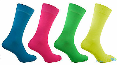 Ladies Neon Socks Teddy Girls Colourful Womens Fancy Dress Acrylic Size 4-6 New