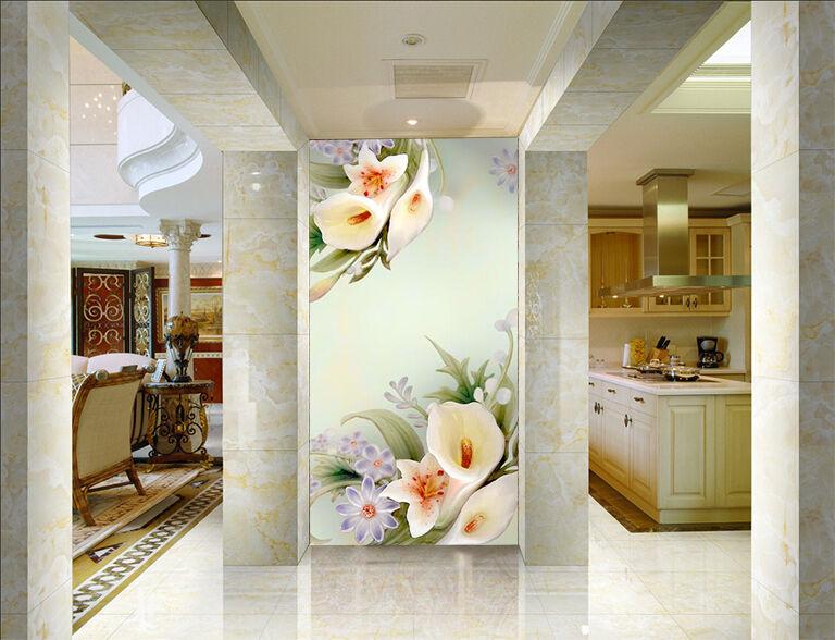 3D Eustoma Fleur 6 Photo Papier Peint en Autocollant Murale Plafond Chambre Art